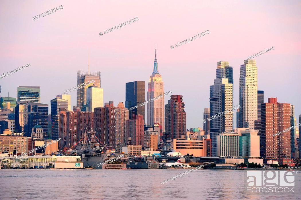 Stock Photo: New York City Manhattan sunset panorama.