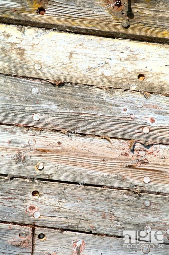 Stock Photo: Nailed Wooden Wall.