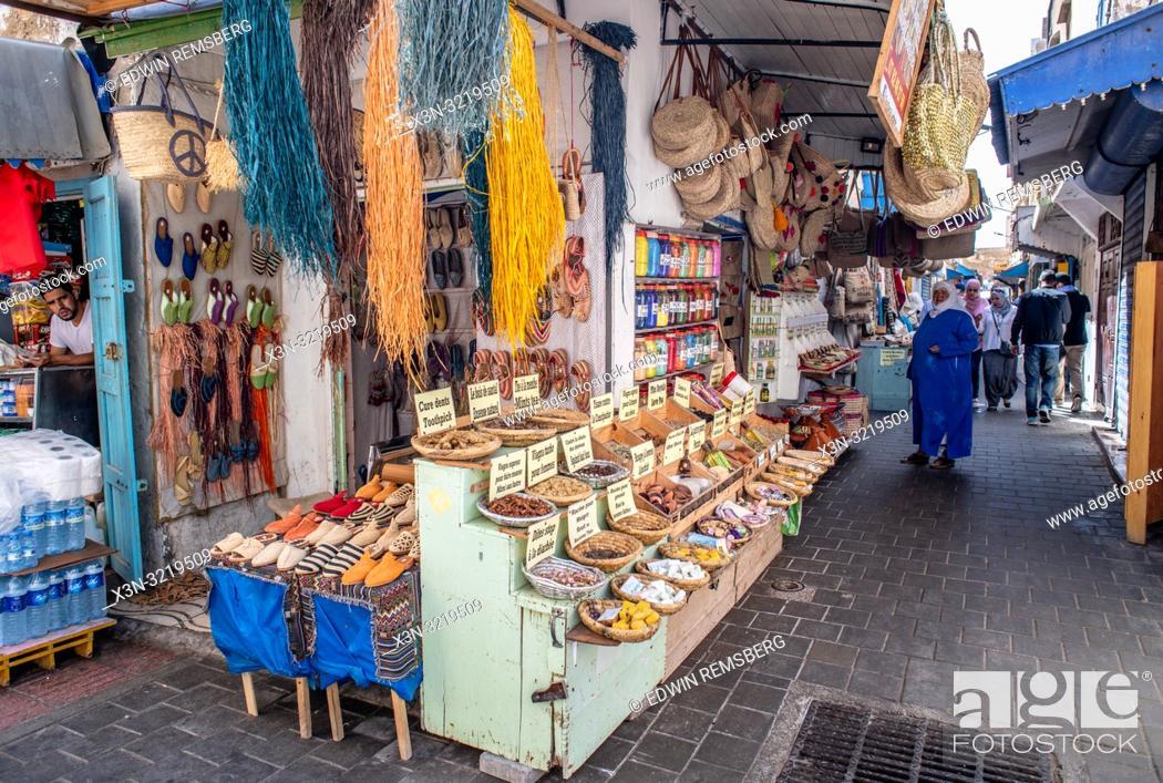 Stock Photo: Markets in an Alleyway, Essaouira, Marrakesh-Safi, Morocco.
