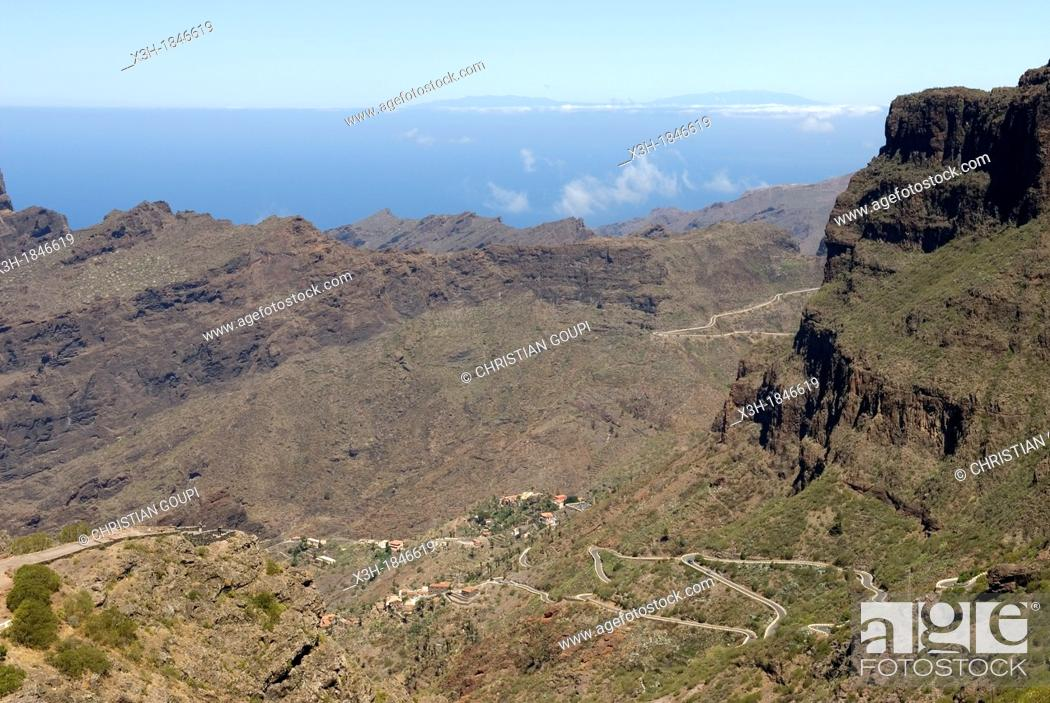 Stock Photo: twisting road to the village of Masca in the Teno mountain massif, Tenerife, Canary Islands, Atlantic Ocean.