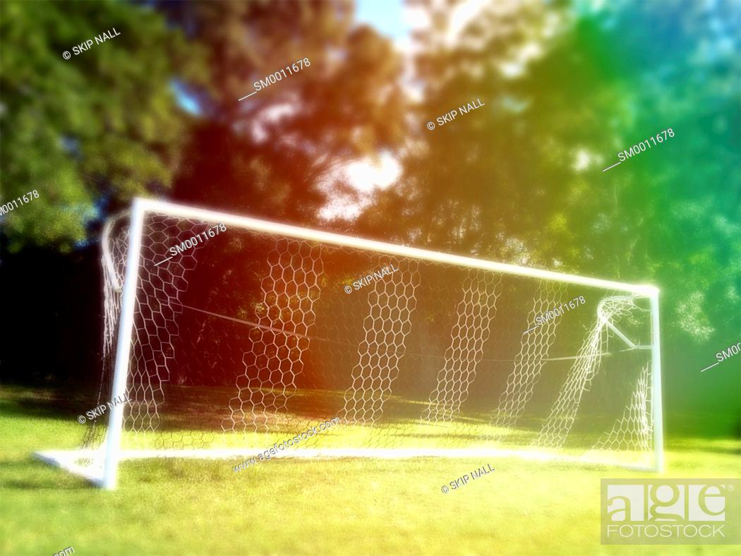 Stock Photo: Soccer net at a park in Florida.