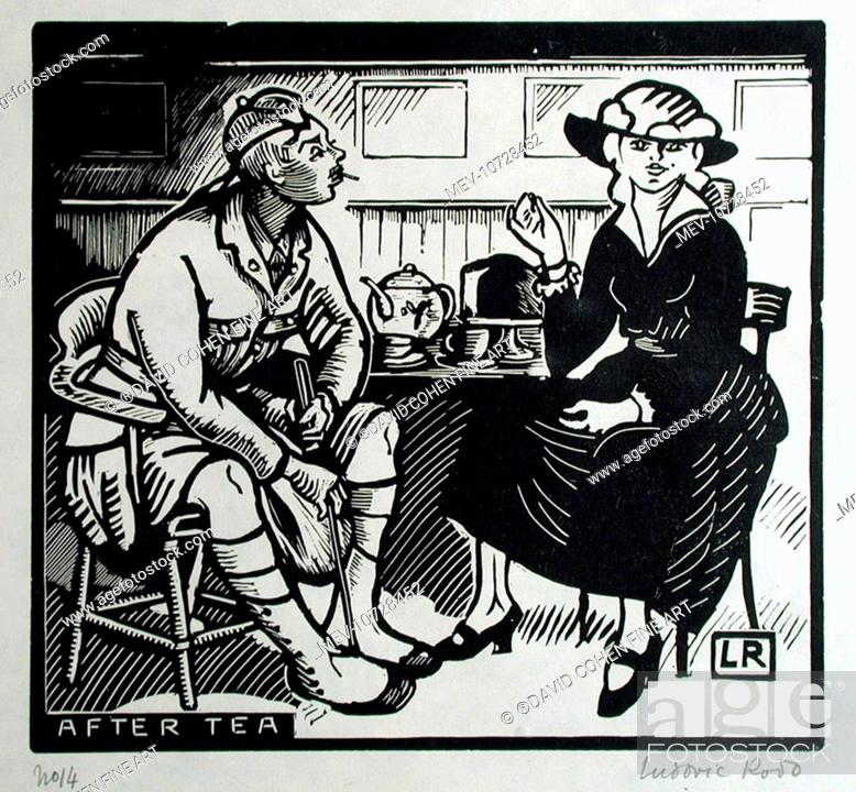 Stock Photo: After Tea. A Scottish soldier and a young lady in a Tea Room. Ludovic-Rodolphe (Rodo) Pissarro (1878-1952). Ludovic-Rodolphe Pissarro Was Born In Paris On The.