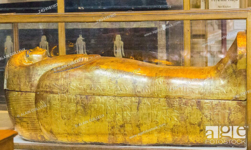 Stock Photo: Egypt, Cairo, Egyptian Museum, from the tomb of Yuya and Thuya in Luxor : Mummy-shaped (second) coffin of Thuya.
