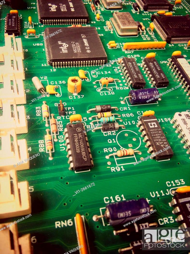 Stock Photo: Old computer board.