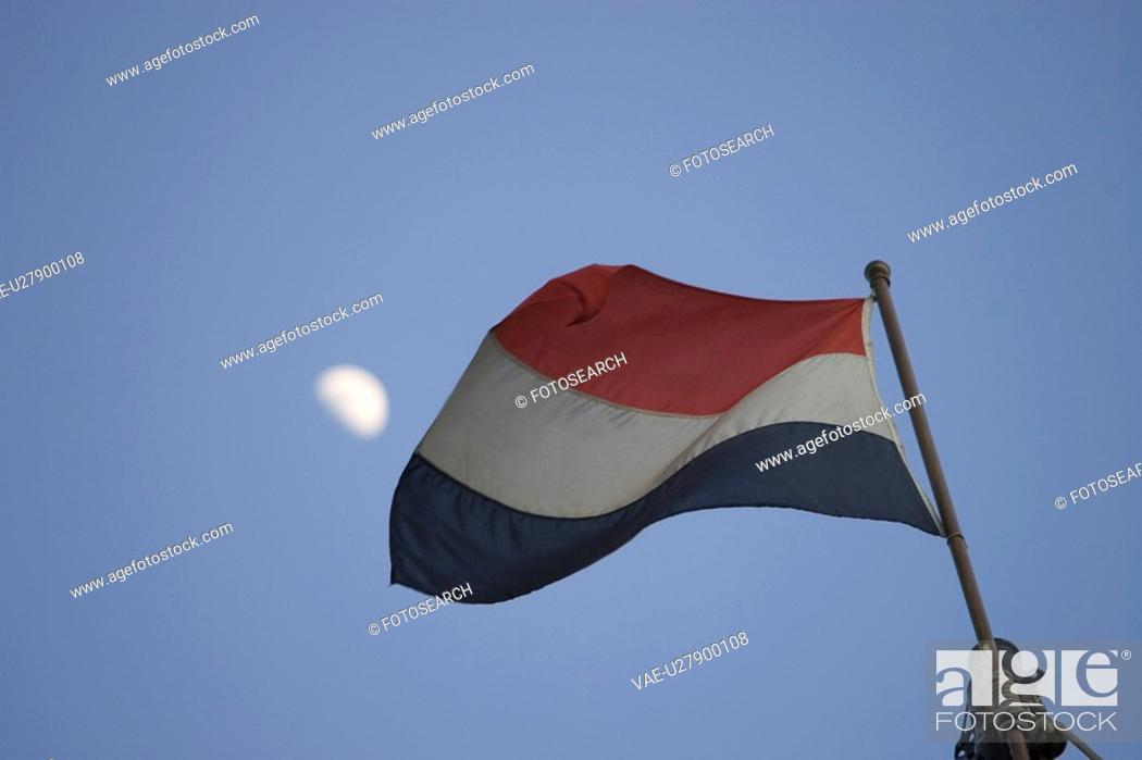 Stock Photo: Blue, Clear Sky, Day, Dutch Flag, Flag.