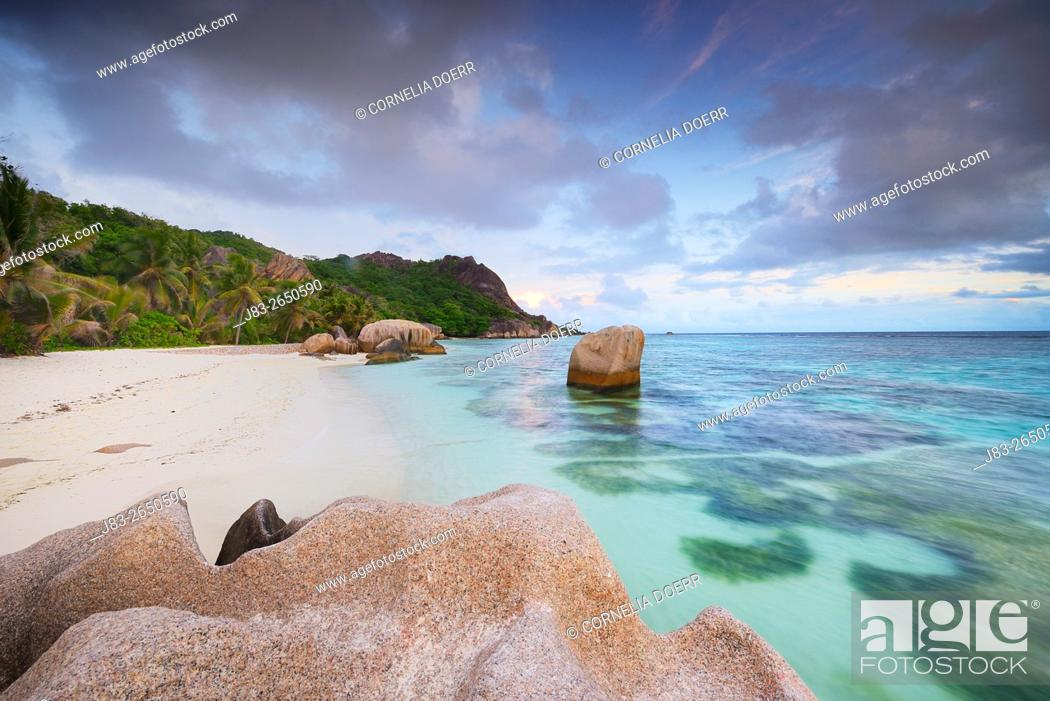 Stock Photo: Typical granite rock formations of famous Anse Source d'Argent Beach, La Digue Island, Seychelles, Indian Ocean, Africa.