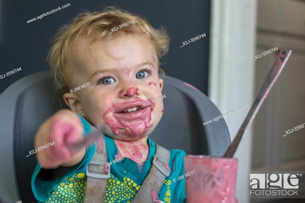 Stock Photo: Denver, Colorado - Two-year-old Hendrix Hjermstad enjoys a smoothie.