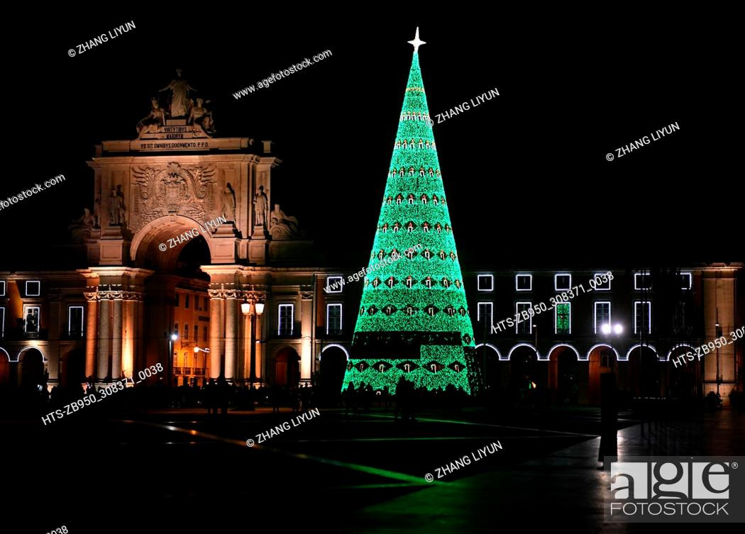 Stock Photo: (171202) -- LISBON, Dec. 2, 2017 () -- A huge Christmas tree is lit up for the upcoming Christmas in Comercio square in downtown Lisbon, Portugal, Dec.