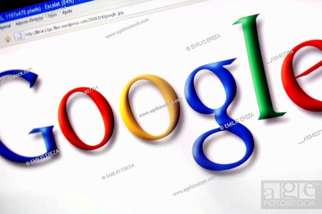 Stock Photo: Google trademark in a monitor screen.