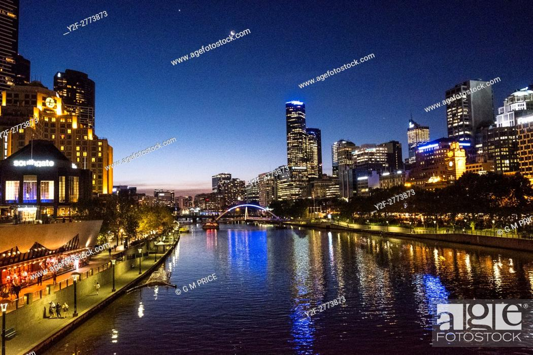 Stock Photo: night view of Yarra, Southbank and Melbourne skyline.