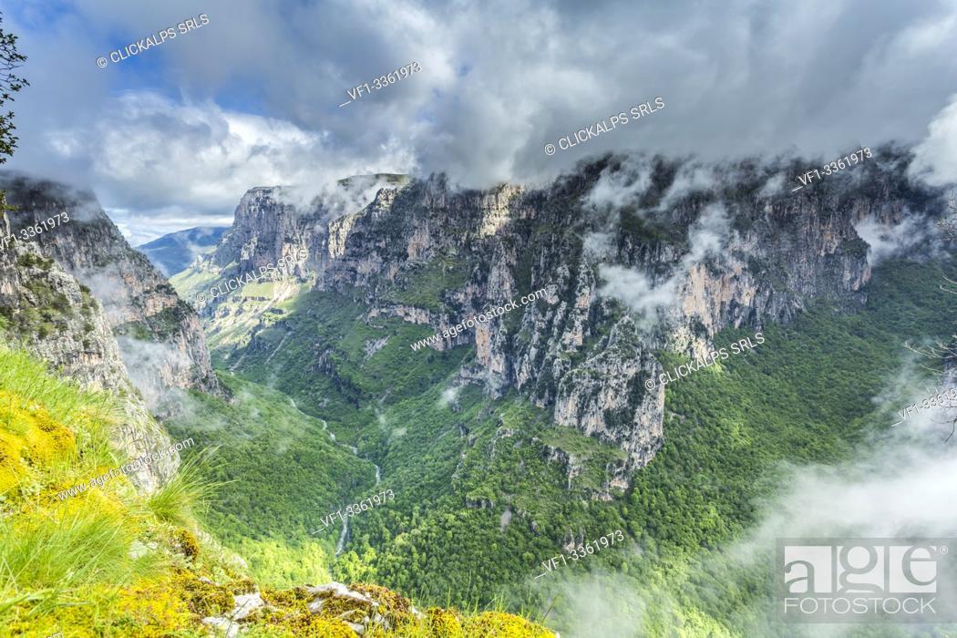 Stock Photo: Vikos Gorge, the world's deepest gorge, near Monodendri, Zagorohoria Area, Epirus, Greece.