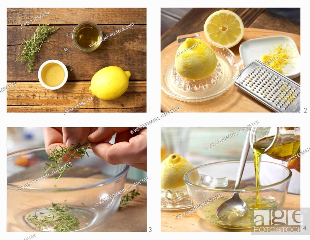Stock Photo: How to prepare thyme & honey marinade.
