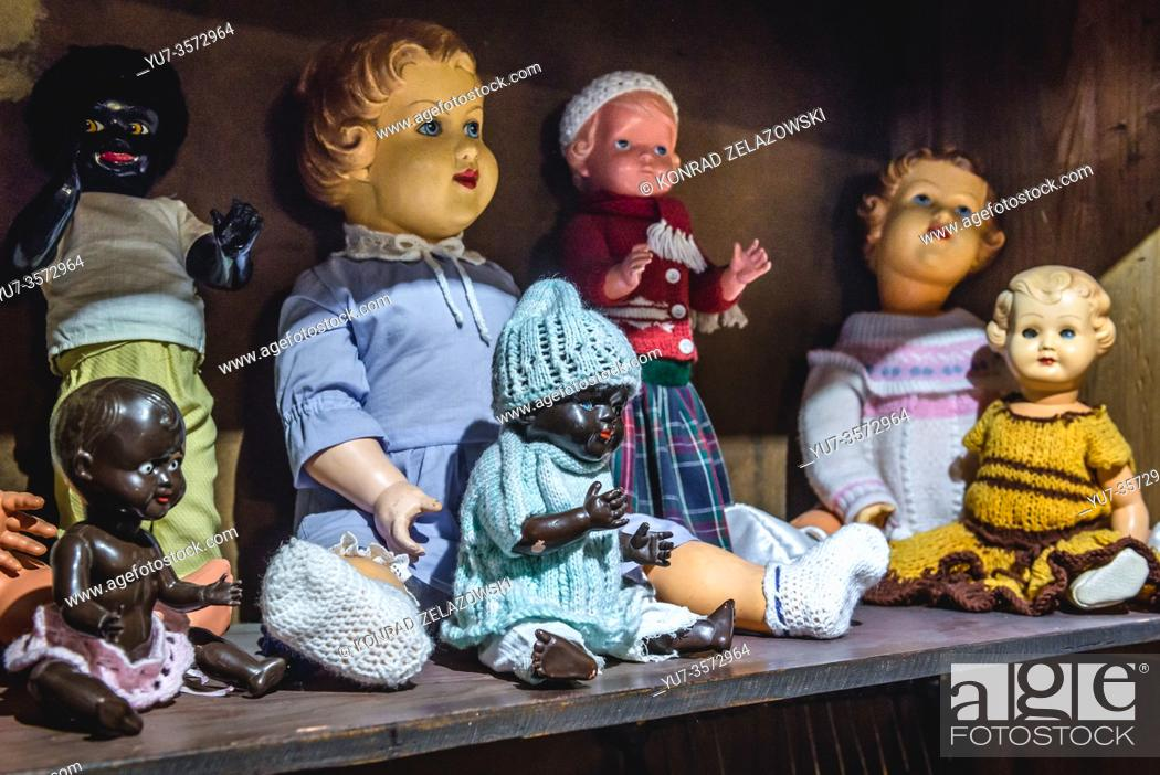 Stock Photo: Old fashioned dolls in Museum of Toys and Tales in Torun, Kuyavian Pomeranian Voivodeship of Poland.
