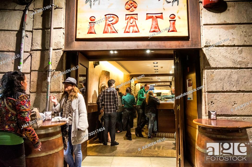 Stock Photo: Spain, Catalonia, Catalunya, Barcelona, Barrio Gotic, Irati Tapas Bar.
