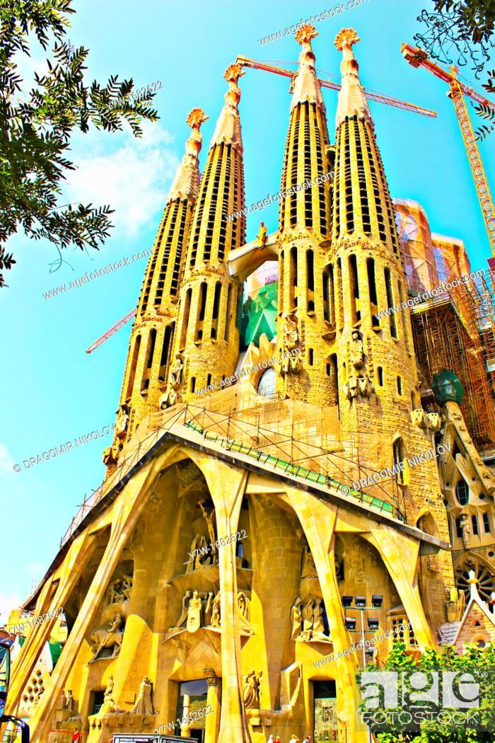 Stock Photo: Sagrada Familia basilica by Gaudi, Barcelona, Catalonia, Spain.