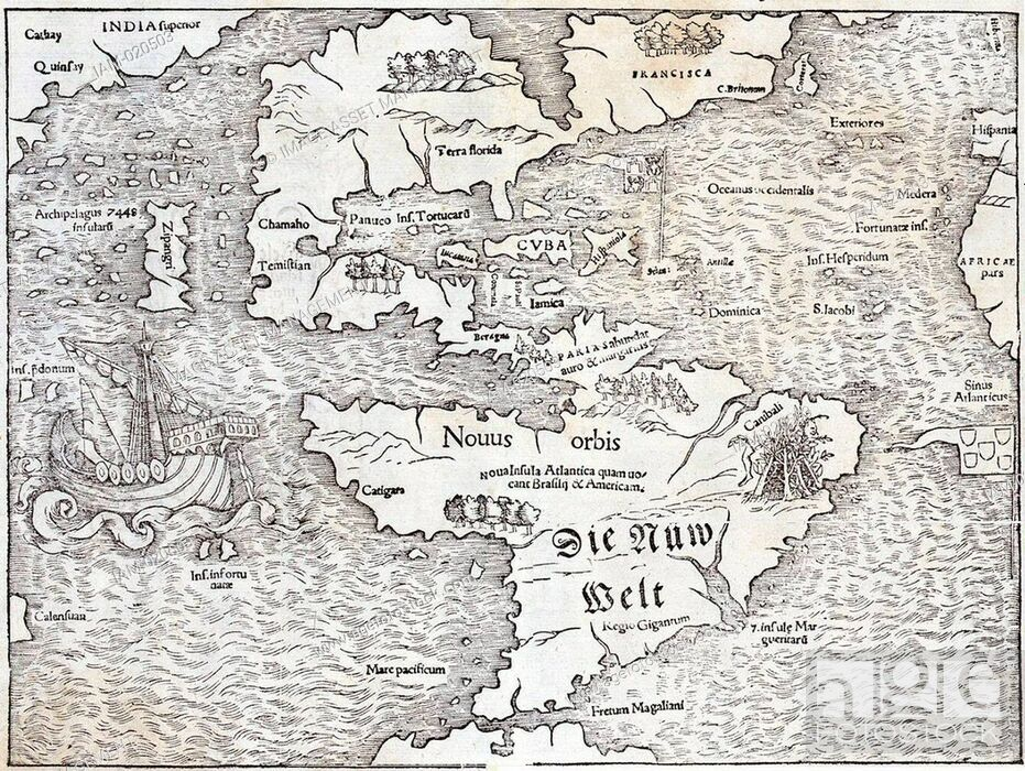 Stock Photo: Map of the New World by Sebastian Munster, 1540, showing the name Atlantis Island.