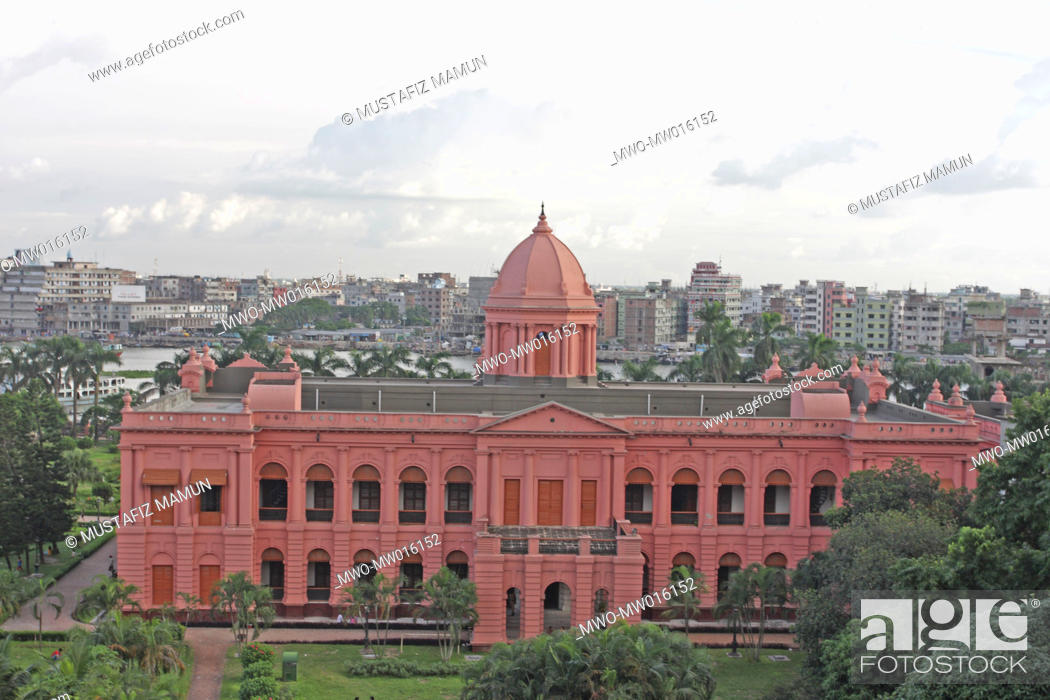 Stock Photo: Ahsan Manzil, at Kumartoli, in Dhaka, on the banks of the Buriganga River Built in the mid 1800s, it was the residential palace and the kachari of the nawabs of.