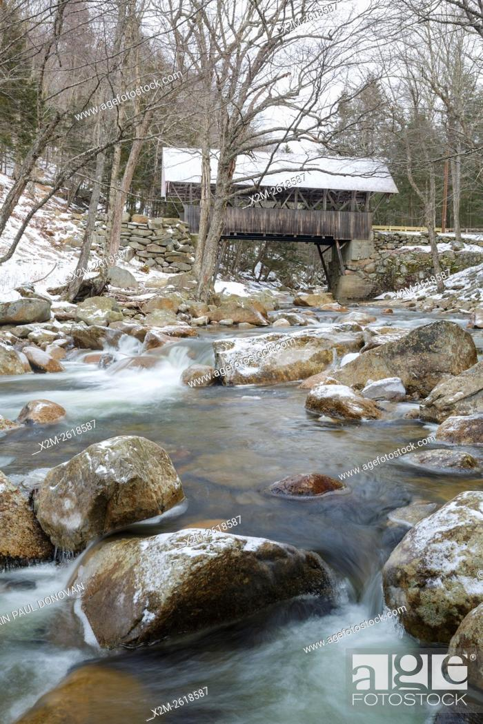 Stock Photo: Flume Covered Bridge in Franconia Notch State Park of Lincoln, New Hampshire USA. This bridge crosses the Pemigewasset River.