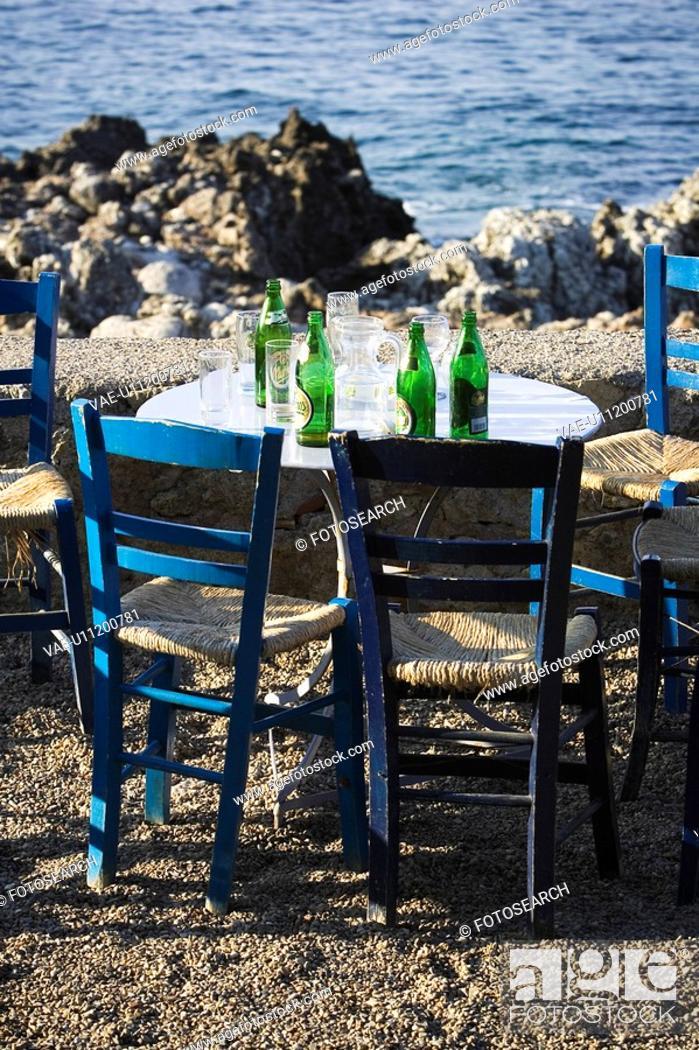Stock Photo: Bottles, Calm, Chair, Day, Horizon.