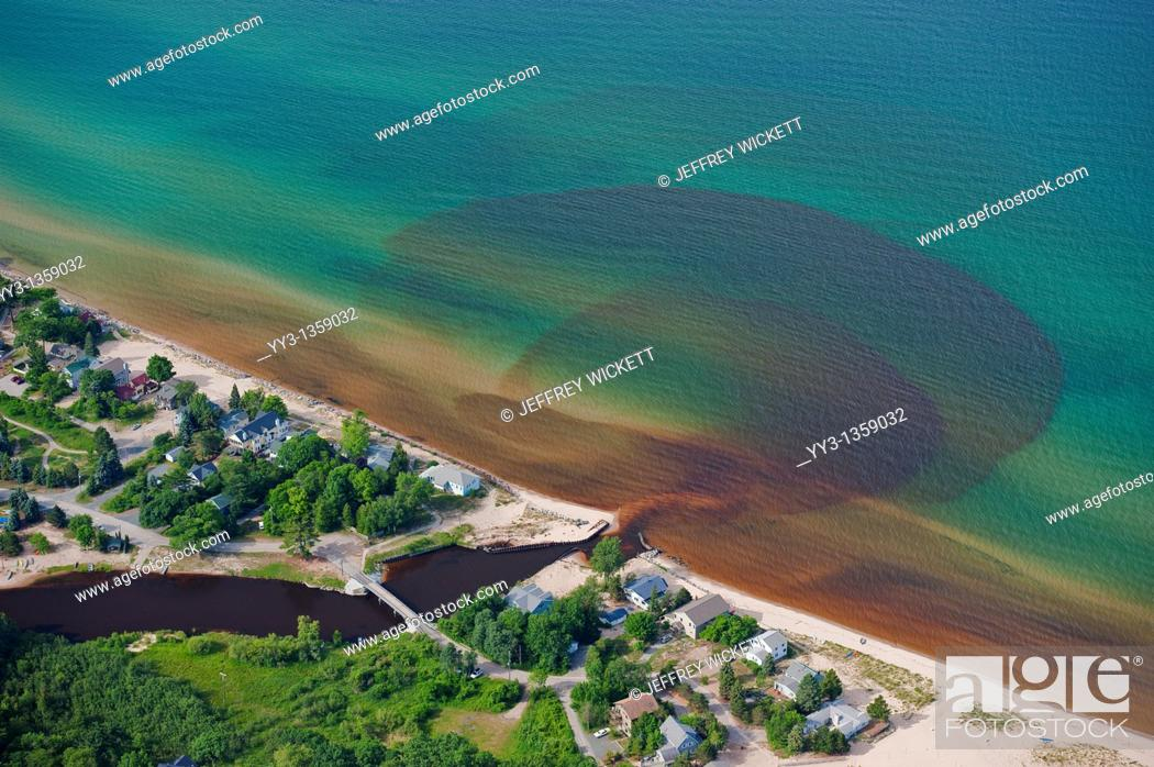 Stock Photo: Aerial view of the discharge of Lincoln River into Lake Michigan, USA.