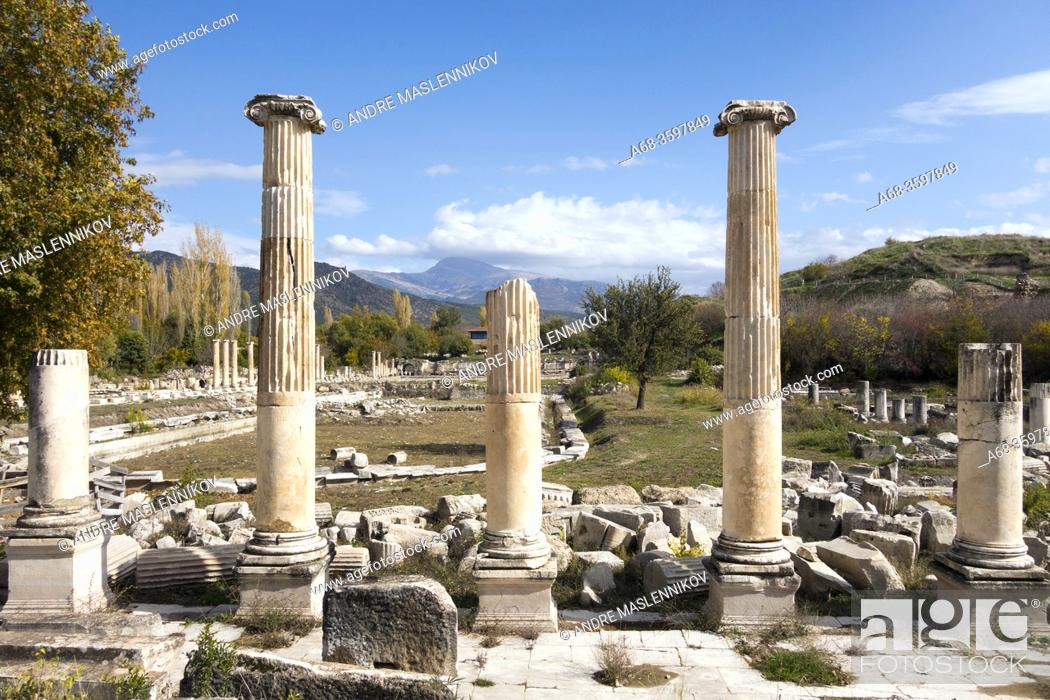 Stock Photo: Ruins in the ancient city of Aphrodisias. Turkey. The remains of ancient Aphrodisias were partly hidden under the village of Geyre with about 950 inhabitants.