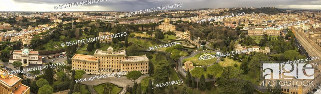 Stock Photo: Panoramic of the city of the Vatican and the city of Rome from the viewpoint of St. Peter's Basilica (Italy).