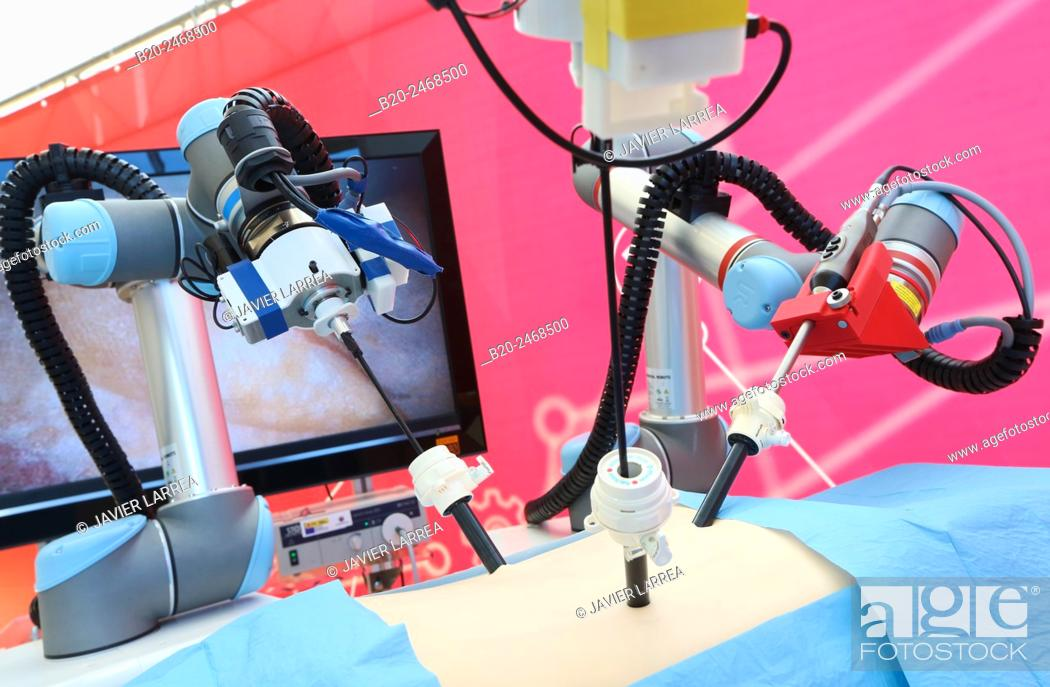 Stock Photo: Development of a surgical robot with 3D vision and tactile sensations..This project has relied on the advice of surgeons for the design and manufacture of the.