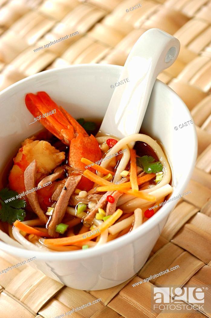 Stock Photo: chinese prawn soup.