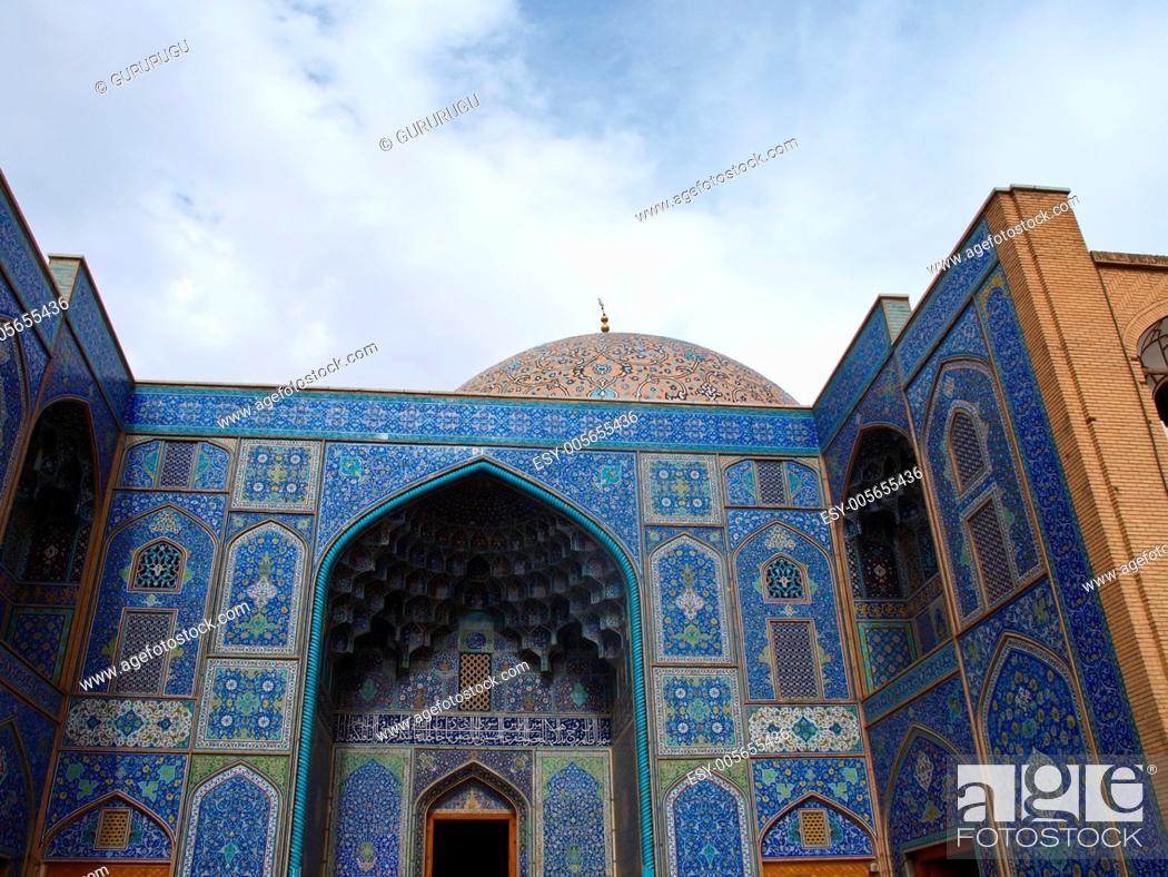 Stock Photo: Sheikh Lotf Allah Mosque entrance in Naghsh-i Jahan Square, Isfahan, Iran.