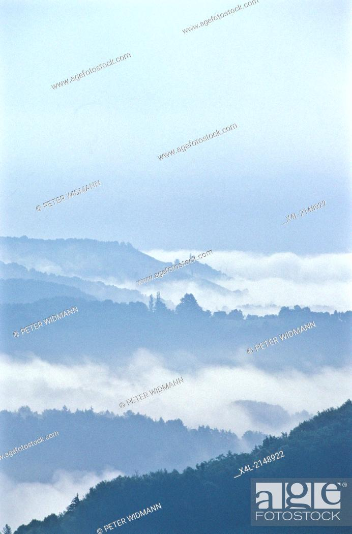 Stock Photo: Austria, view over the alps, morning mist.