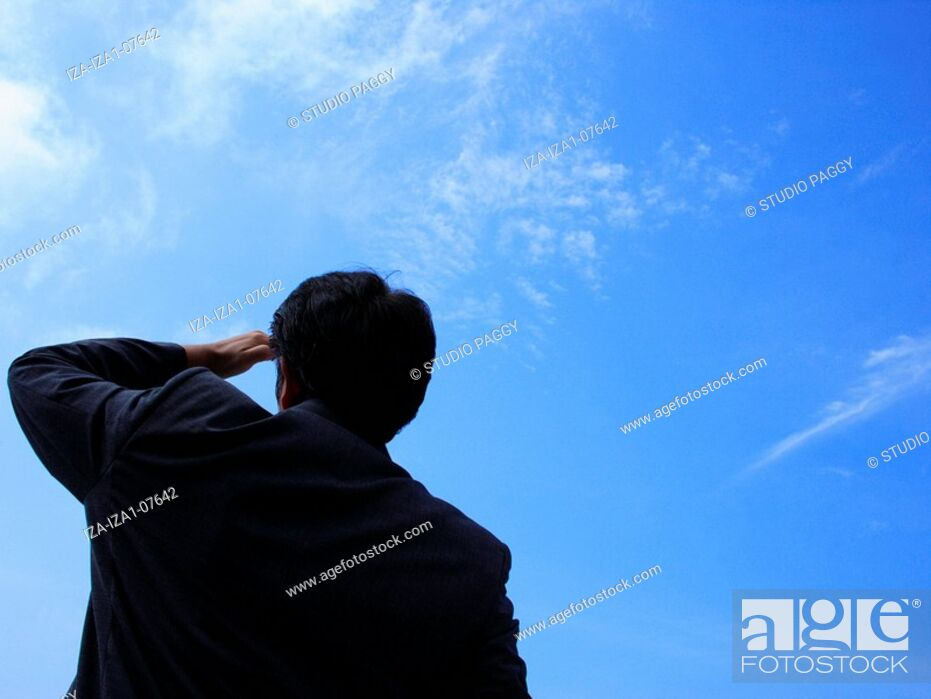 Imagen: Rear view of a businessman looking in the sky.
