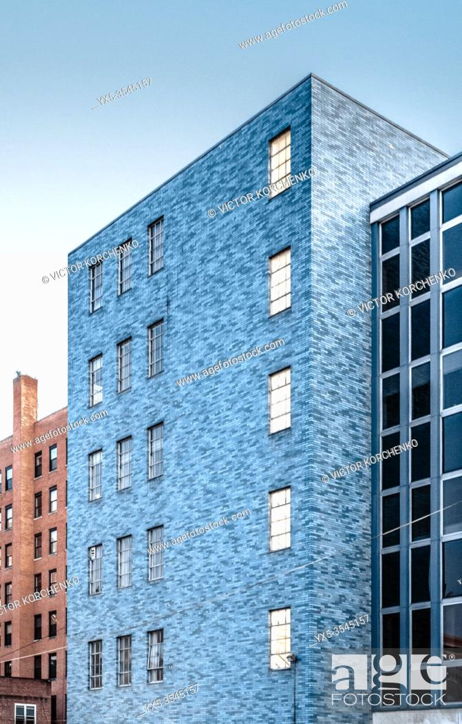 Stock Photo: Modern office building laid with blue bricks in downtown Buffalo, NY.