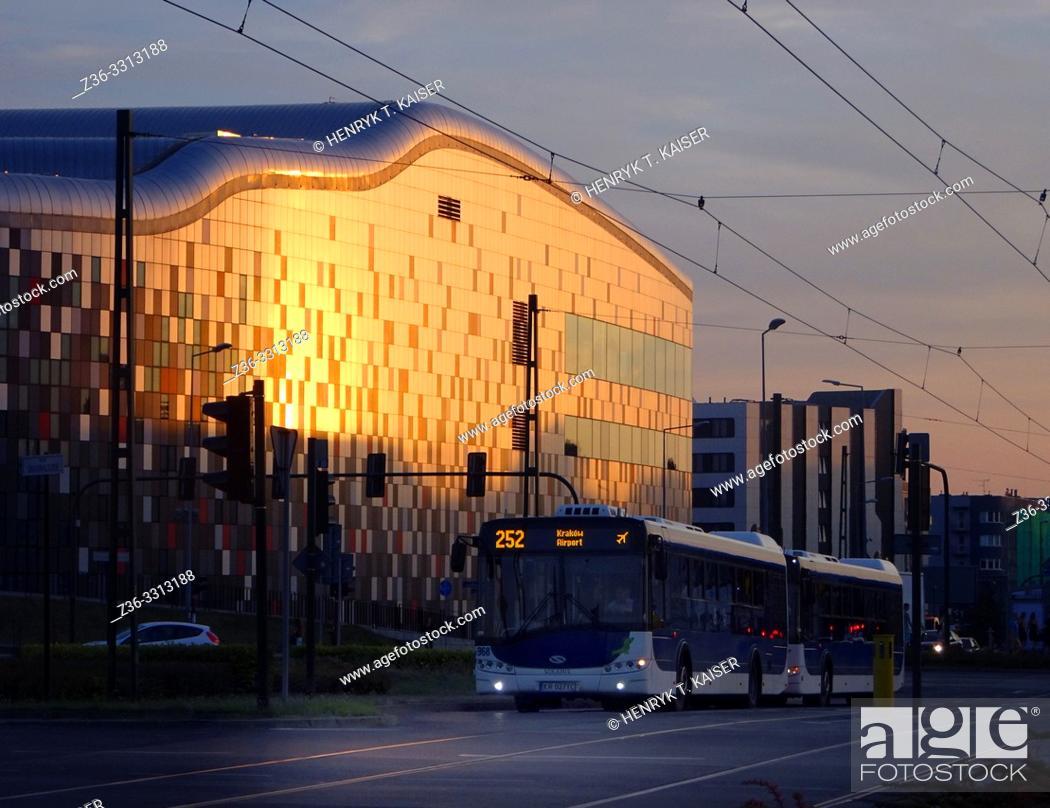 Stock Photo: Ice Congress Center at sunset, Krakow, Poland.