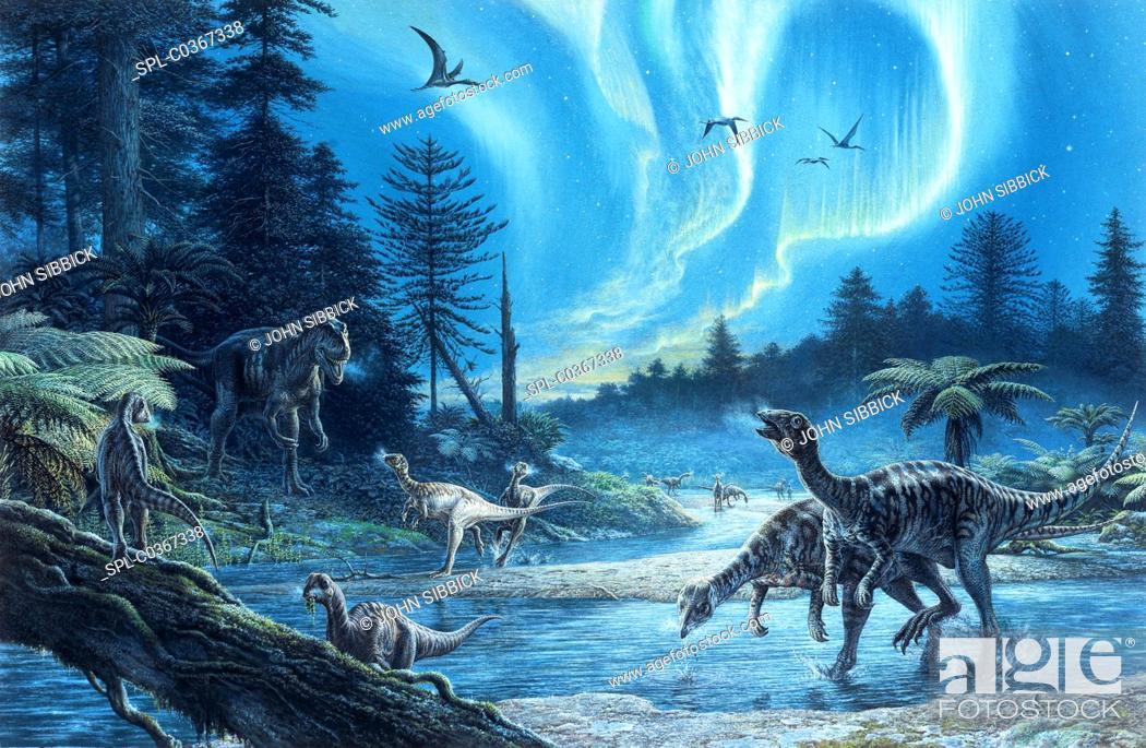 Stock Photo: South Polar dinosaurs, illustration.