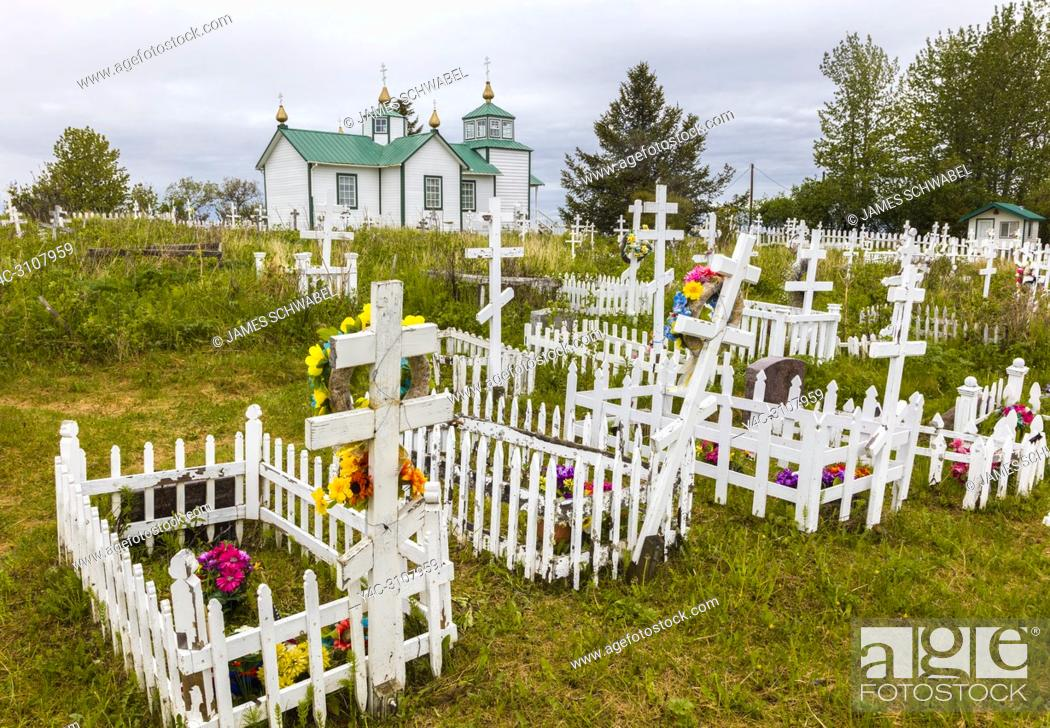 Photo de stock: The Holy Transfiguration of Our Lord Chapel is a historic Russian Orthodox church located near Ninilchik on the Kenai Peninsula in Alaska built in 1901.