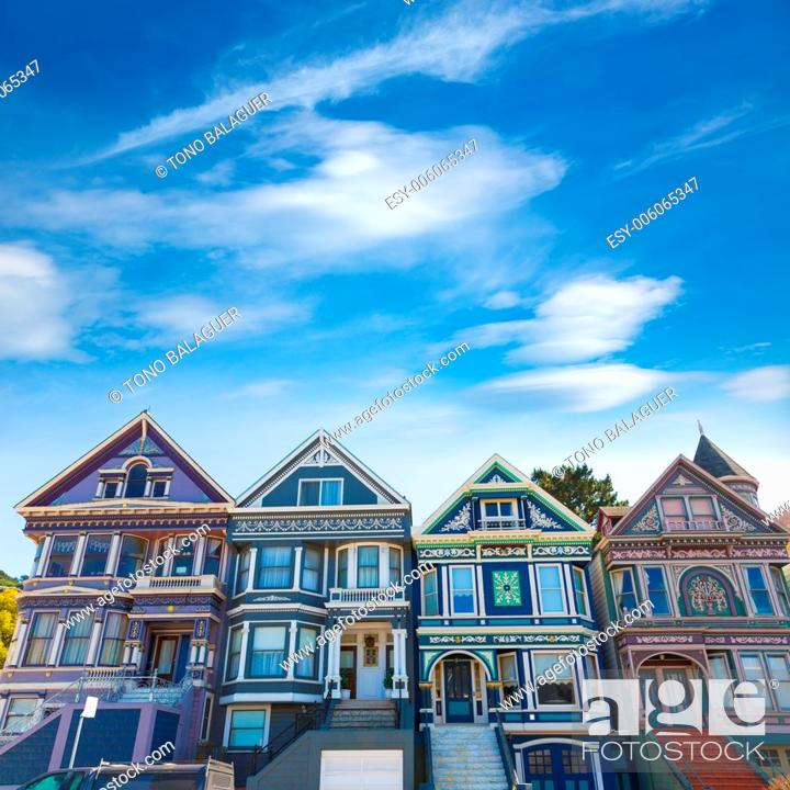 Photo de stock: San Francisco Victorian houses in Haight Ashbury of California USA.
