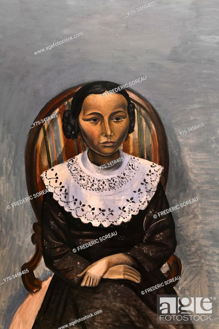 Stock Photo: Girl in Black, 1913, by André Derain (1880-1954), State Hermitage museum, St Petersburg Russia, Europe.
