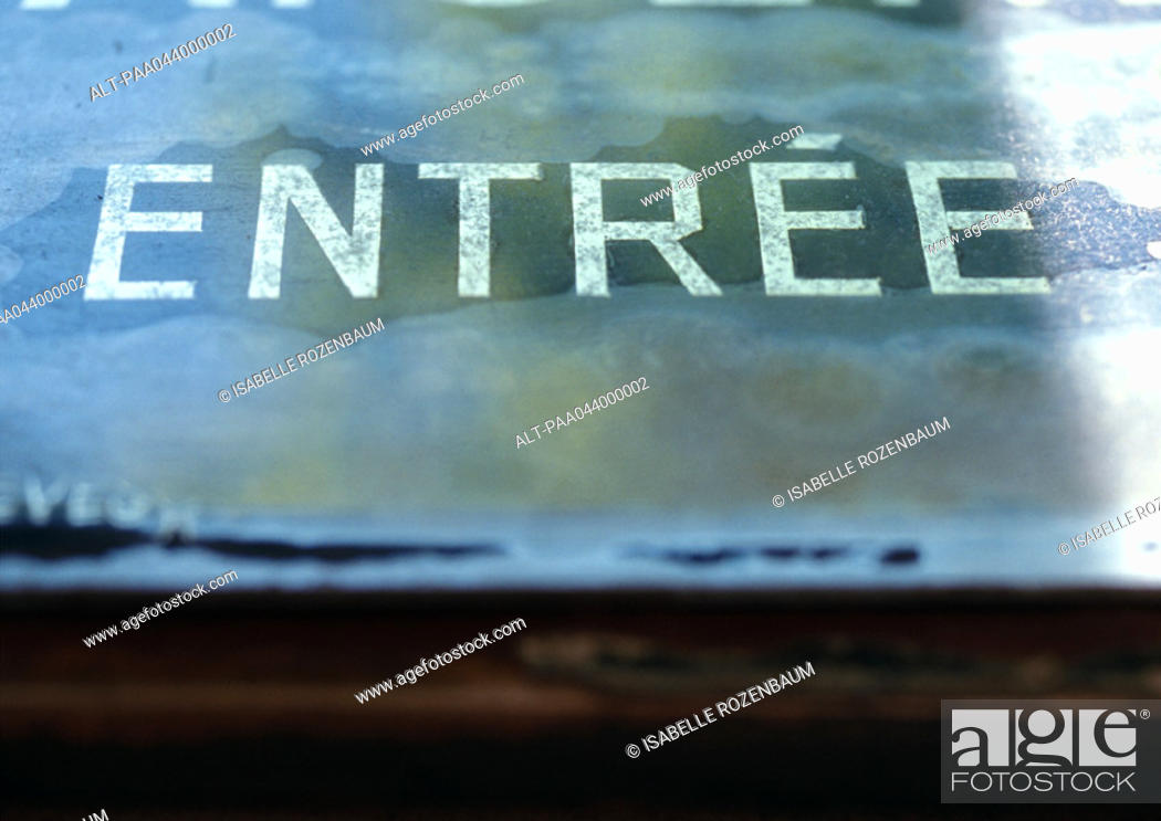Stock Photo: 'Entrance' text in French.