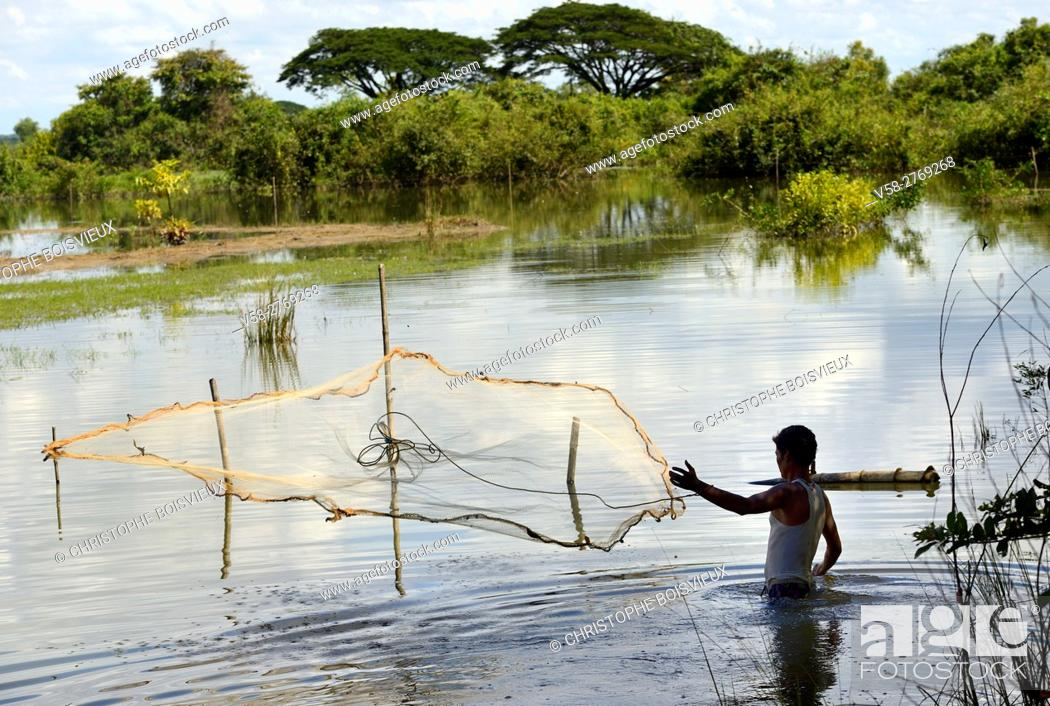 Stock Photo: Myanmar, Kayin (Karen) State, Hpa-An region, Fishing in the flooded paddy fields.