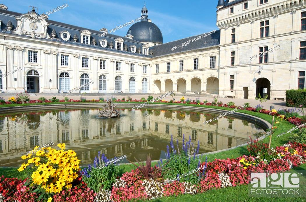 Stock Photo: Valençay Castle, Loire Valley, France. Built between the 16th and 18th centuries, mixing classical style architecture and the Renaissance.