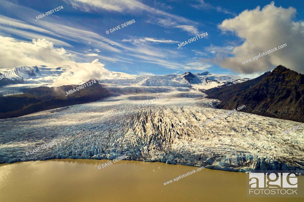 Stock Photo: Golden Hour, Aerial View, Fjallsarlon, Glacier, Bay, Mountains, Iceland, Europe.