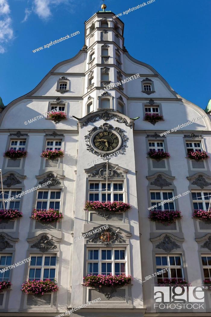 Stock Photo: Town hall, Memmingen, Lower Allgaeu, Allgaeu, Swabia, Bavaria, Germany, Europe.