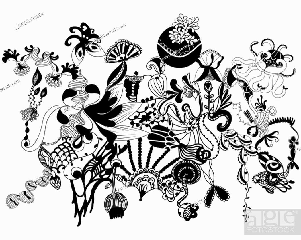 Stock Photo: Black and white floral organic shapes and patterns.