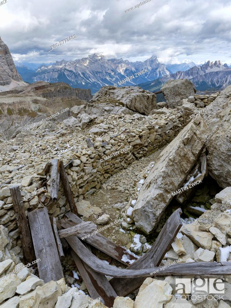 Stock Photo: Emplacements of the Austrian forces during World War 1 at Mount Lagazuoi in the Dolomites, now preserved as a museum. The Dolomites are listed as UNESCO World.