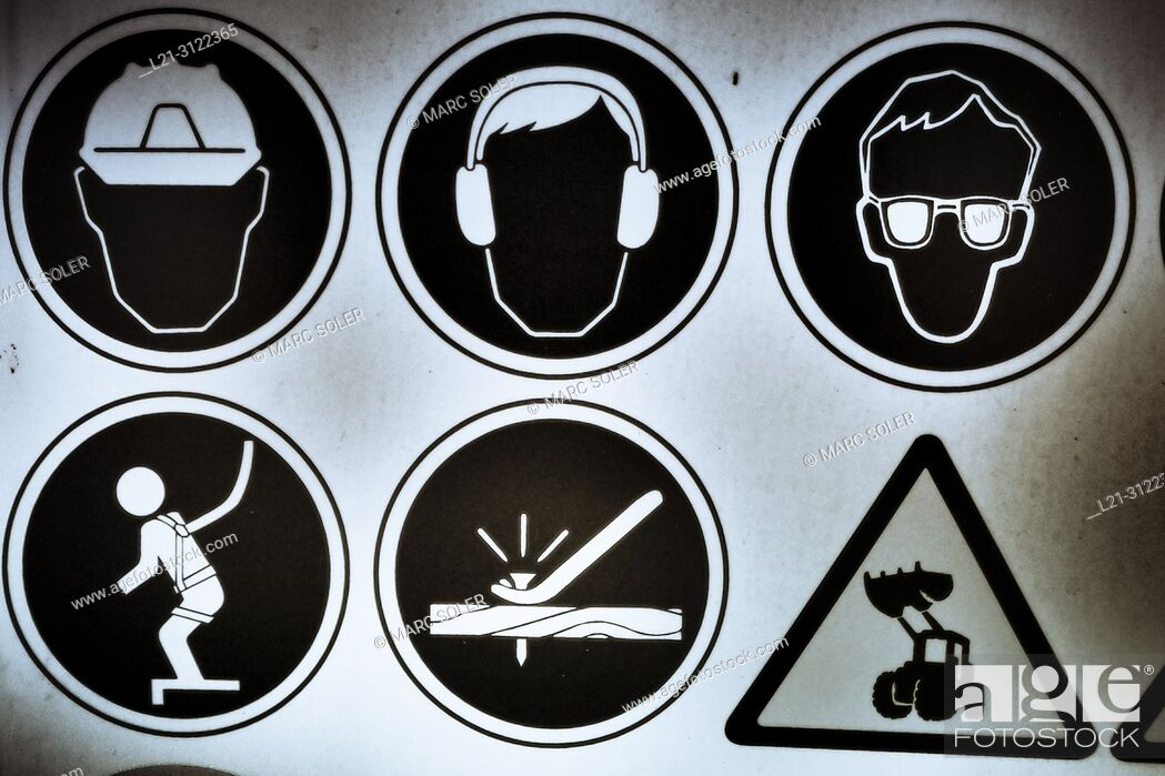 Stock Photo: Construction site safety warnings sign. Barcelona, Catalonia, Spain.