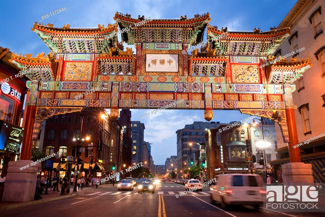 Stock Photo: China Town Arch in Washingto, DC.