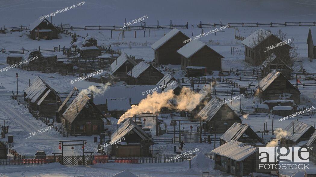 Stock Photo: Hemu village at sunrise in Xinjiang, China, Kanas.