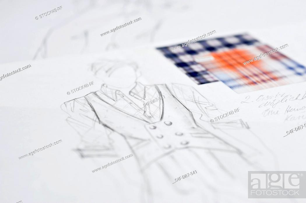 Stock Photo: Fashion draft and fabric swatch.