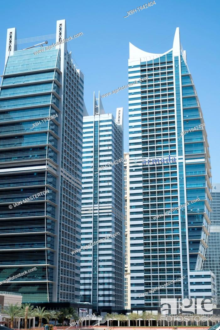 Stock Photo View Of Modern High Rise Apartment Towers At Jumeirah Lakes Jlt New Dubai In Uae