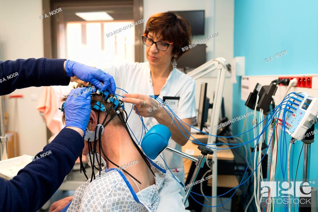 Stock Photo: Reportage in the epileptology unit in Nice Hospital, France. Epilepsy diagnosis: EEG in a 52-year old patient hospitalized in the neurology service following a.
